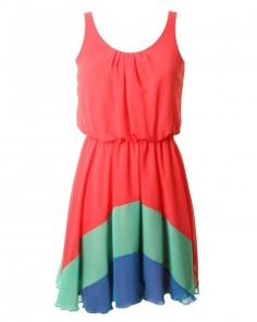 Watermelon Chiffon Rainbow Hem Dress // £40