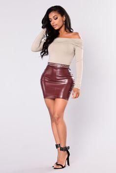 Casual Slay Leather Skirt - Burgundy