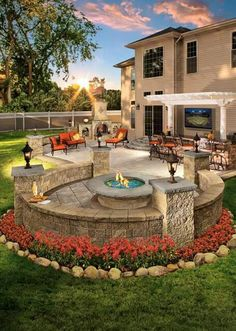 Would you enjoy this outdoor living space in your backyard? Pergolas and fire pi… Would you enjoy this outdoor living space in your backyard? Pergolas and fire pits from Cambridge pavers provide the best designs for relaxation. Backyard Patio Designs, Backyard Pergola, Fire Pit Backyard, Backyard Landscaping, Landscaping Ideas, Backyard Ideas, Garden Ideas, Outdoor Decking, Pergola Kits