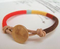 Leather and thread bracelet
