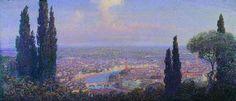 Baldassarre Longoni - panorama di Verona - 1915 - olio su tela cm 63,5x151 -Galleria d'arte contemporanea Achille Forti-Palazzo della Ragione   - Verona -