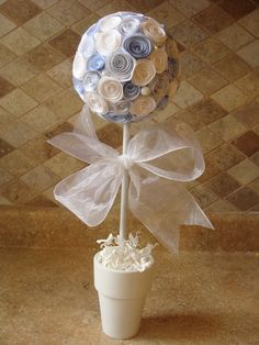 White and Baby Blue Rose Flower topiary for  baptism, baby shower, communion centerpiece or decoration on Etsy, $22.00