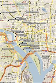 Washington, D.C., Attractions Map.  Our Attractions Map includes many of the most popular Washington, D.C., and Arlington, Virginia area landmarks, sightseeing points of interests, museums and park locations. Our locator maps will help you find and plan your visit to these popular travel vacation attractions.