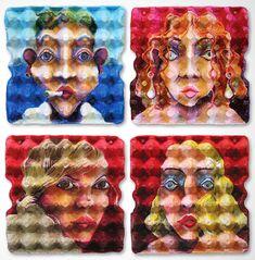 EggCubism par Enno De Kroon : Peinture Cubiste sur Emballages pour Oeufs
