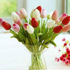 30 pcs/lot Tulip Bunga 2017 PU buatan bouquet Nyata sentuh bunga Buatan Untuk dekorasi Rumah Pernikahan Dekorasi Bunga