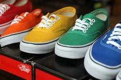 blue, green, orange, red, vans