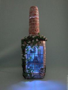 """Купить бутылка-светильник """"Лето"""" - подарок на любой случай, комбинированный, бутылка декоративная, бутылка в подарок"""
