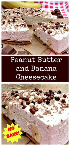 No Bake Peanut Butter Banana Cheesecake. Oh boy! Super easy recipe, no bake and a chocolate chip cookie base! | Lovefoodies.com