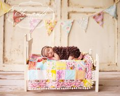 Handmade Distressed Finished Photography Prop Doll Bed