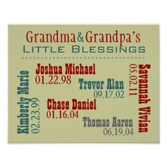 Great Christmas gift for Grandparents - Grandma and Grandpa's Grandkids Names Birthdays Poster SOLD on Zazzle