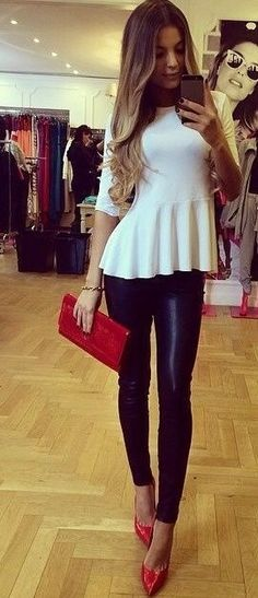 Leather Leggings, White Peplum, Red Accessories