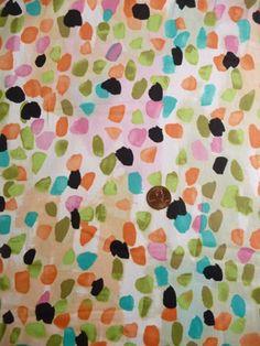 "Cotton Sateen Brushed Dots White, Black, Orange, Kiwi 58"" Wide"