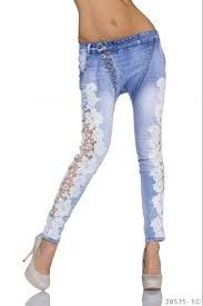 Jeans breeches with lace