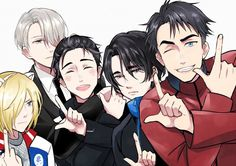"""Let's JJ style!"" - Yurio, Victor, Yuuri, Seung-Gil and JJ - Yuri!!! on Ice by スカ on pixiv"