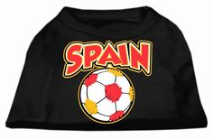 Spain Soccer Screen Print Shirt Black Med (12)