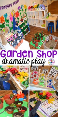 Garden Shop Dramatic Play (or Flower Shop) for a spring theme, Mother's Day theme, or summer theme when everything is growing and blooming. Any preschool, pre=k, and kindergarten kiddos will LOVE it (and learn a ton too). (snacks for school preschool) Dramatic Play Themes, Dramatic Play Area, Dramatic Play Centers, Preschool Dramatic Play, Camping Dramatic Play, Preschool Garden, Preschool Themes, Spring Preschool Theme, Preschool Flower Theme
