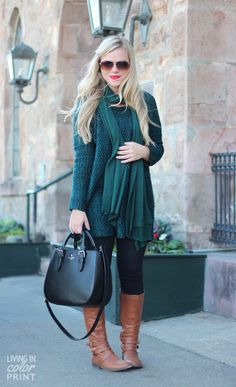 0e52a5af29 Outfit  26 - Forest Green Sweater - Black Jeans - Black Infinity Scarf or  Thick