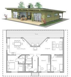Denah Rumah Sederhana 2 Kamar Tidur Terbaru 3D