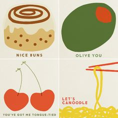 Valentine Food Puns. Um, food puns are my fave. These are adorable. #swoonworthy