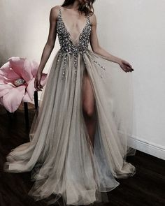 Grad dresses, homecoming dresses, formal dresses, evening dresses, grey p. Grey Evening Dresses, Grey Prom Dress, Two Piece Homecoming Dress, Dresses Elegant, Pretty Dresses, Evening Gowns, Beautiful Dresses, Formal Dresses, Evening Party