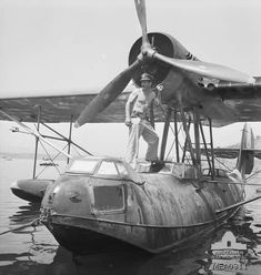 Augusta, Sicily, Italy, September 1943. A Pilot Officer John of No. 3 (Kittyhawk) Squadron Royal Australian Air Force aboard an Italian CRDA Cant-Z-501 Gabbiano float plane found intact on occupation of this Regia Marina's (Italian Royal Navy) base.