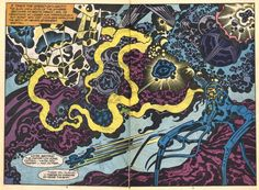 Spread from Captain Victory #9. Kirby.