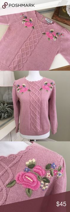 Vintage Rose Embroidered Pink Knit Sweater This vintage pink knit sweater from Private Party features lovely roses and accompanying flowers on either side, slightly scalloped neckline and button back. Excellent condition! Virtually NO pilling! Size: Large. Length: 21 inches. Armpit to armpit: 19 inches. Private Party Sweaters