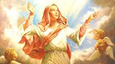 """The pics above show The Assumption of Mother Mary. """"Assumption"""" means here """"to be taken up"""" body and soul to Heaven. It is not Ascension, like Jesus, done by his own power, Jesus And Mary Pictures, Mary And Jesus, Where In The Bible, Christian Facebook Cover, Assumption Of Mary, Mama Mary, Queen Of Heaven, Religious Images, Catholic Art"""