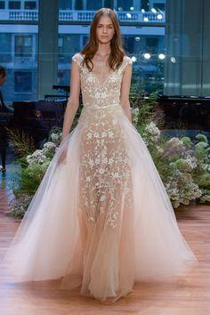 Monique Lhuillier. Autumn Winter wedding dress inspiration. Blush wedding dress. See all 50 of the most beautiful dresses from 2016 bridal fashion week here: http://www.harpersbazaar.co.uk/bazaar-brides/news/g37282/bridal-fashion-week-2016/