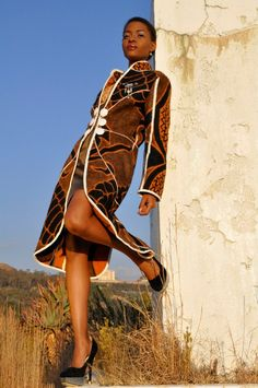 Young South African fashion designer Thabo Makhetha uses a 'traditional' Basotho blanket for a coat. South African Fashion, African Fashion Designers, African Inspired Fashion, African Print Fashion, Fashion Prints, African Prints, Fashion Styles, African Wear, African Women
