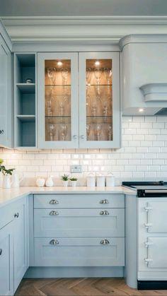Kitchen Room Design, Kitchen Redo, Modern Kitchen Design, Home Decor Kitchen, Interior Design Kitchen, Home Design, Home Kitchens, Blue Kitchen Ideas, Light Green Kitchen