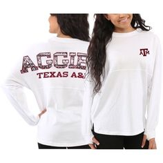 Texas A&M Aggies Women's White Aztec Sweeper Long Sleeve T-Shirt Volleyball Shirts, Cheer Shirts, Texas Nails, Aggie Game, Texas Shirts, My College, Texas A&m, Aztec, Long Sleeve Tops