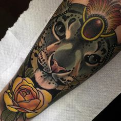 """""""Girly snow leopard. Thank you Logan"""" This is very pretty. I like the neo-traditional style for animal tats."""