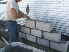 USE GLOVES (unless you enjoy cracked & bleeding fingers) EZ Concrete, Cement, Cinder Block and Brick Laying using Joint Spacers How To Lay Concrete, Concrete Bricks, Concrete Wall, Cinder Block Bench, Cinder Block Walls, Cinder Blocks, Brick Projects, Brick Laying, Basement Inspiration