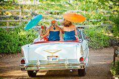 bridal party entrance to the ceremony; Temecula Wedding, vintage cars, Lake Oak Meadows, orange & teal