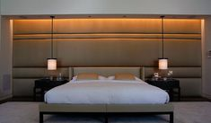 contemporary alternative to a deep buttoned headboard   upholstered wall