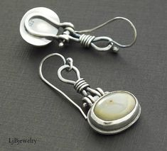 Silver Dangle Earrings, Mixed Matched Earrings, Drop Earrings, Ocean Jasper Earrings, Metalsmith, Metalwork, Handmade, Silver Jewelry, A fun pair of mixed matched dangle earrings made with sterling silver and two lovely ocean jasper cabochons set in a bezel. These earrings are