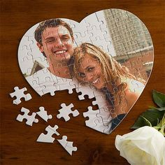 Love Connection 75-Piece Photo Puzzle - Piece together a special photo and discover the finished surprise with this Love Connection Personalized Photo Puzzle. Upload any photo onto our heart shaped puzzle for the perfect romantic gift. Perfect for gifting.