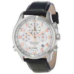 Bulova 96B182 Men's Precisionist Wilton Chronograph Silver Dial Leather Strap Watch,