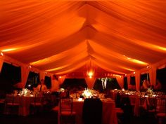 Gorgeous fall themed look for this orange uplighting tent wedding reception. Gorgeous fall th Tent Wedding, Wedding Rentals, Fall Wedding, Wedding Decor, Wedding Reception, Dream Wedding, Wedding Ideas, Avondale Estates, Tent Lighting