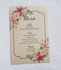 Rustic Wedding Menu - Simple, Rustic Floral Wedding Reception Dinner Menu - Stylish, Rustic, Chic  This listing is for: FIFTY (50) Wedding Menus