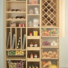 Pantry idea, love the tray shelves!  And fruit veggie storage