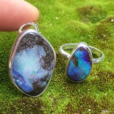 A couple of recent Australian boulder opal creations. I still have a few gems available for custom orders. If you're interested see the post from August 26.  There's also one boulder opal ring (size 8 & can be made larger) listed in the online shop... & it's on sale!! summerlovejewelry.etsy.com  #boulderopal #opal #amazingmothernature