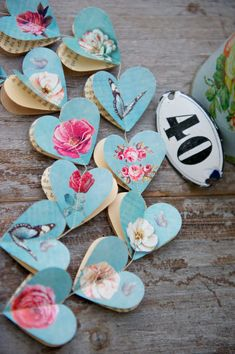 SALE Paper garland, Victorian Roses AQUA, HEARTS, for wedding, party, birthday, home decoration