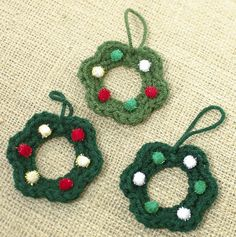 These cute little wreaths work up in no time at all and are a great way to include your kids in your crafting ... you crochet 'em and they decorate 'em. Fun for everyone