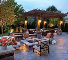 Dream Backyard courtesy of furniture from Patio World of Bend Oregon. Love the pergola and the fire pit on the paver patio! Design Patio, Lounge Design, Backyard Patio Designs, Outdoor Kitchen Design, Backyard Landscaping, Landscaping Ideas, Backyard Ideas, Pergola Designs, Pergola Ideas