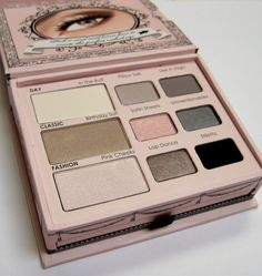 "The ""Naked Eye"" eyeshadow palette by Too Faced Cosmetics. Great cool toned neutrals (matte and soft shimmer finishes)."