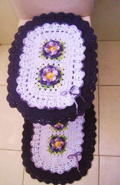 Helen's artes em Crochê: Jogo de banheiro oval em croche com bico duplo