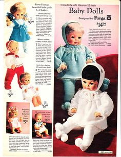 I had the big doll in blue... but mine wore pink. she laughed when you shook her. 1970 Sears Wish Book 591