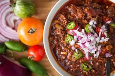 Five Meat Paleo Beanless Chili With Ground Beef, Bison, Bacon, Ground Pork, Stew Meat, Mixed Tomatoes, Pepper, Onions, Celery, Tomato Paste, Chili Powder, Salt, Pepper